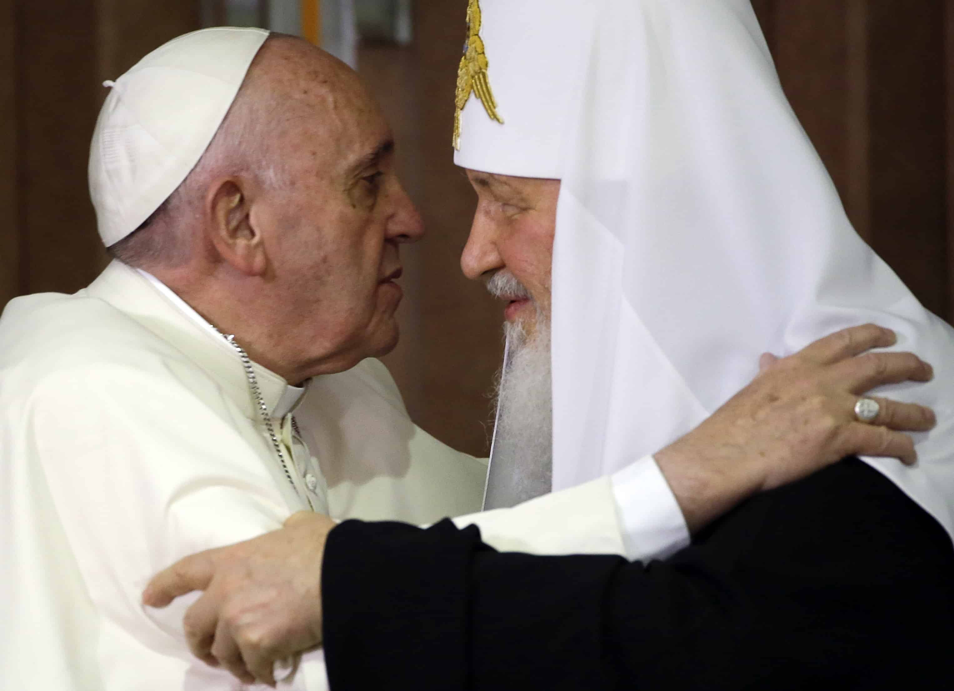 Pope Francis, left, and the head of the Russian Orthodox Church, Patriarch Kirill