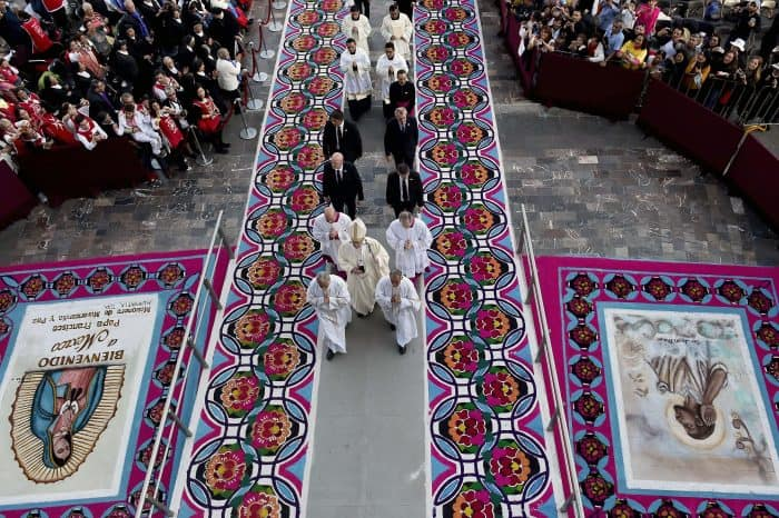 Pope Francis arrives to celebrate a Holy Mass in the Basilica of Our Lady of Guadalupe in Mexico City