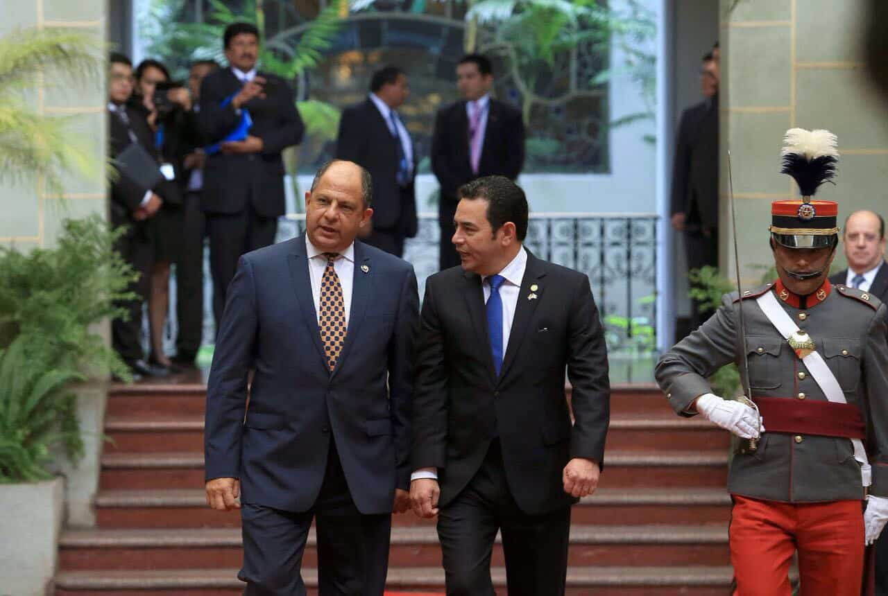 Costa Rica President Luis Guillermo Solís and Guatemala President Jimmy Morales