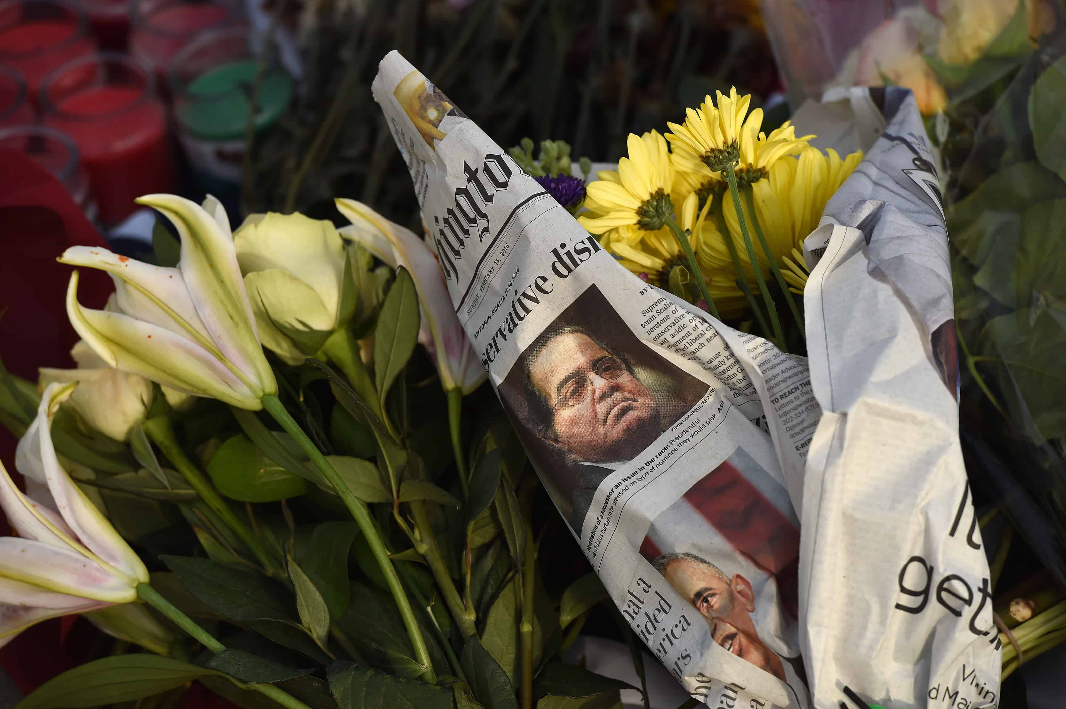 A makeshift memorial for U.S. Supreme Court Justice Antonin Scalia