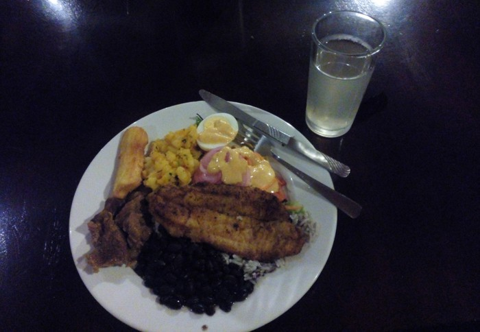Rice and beans and fish: $16 dinner at Tirimbina.
