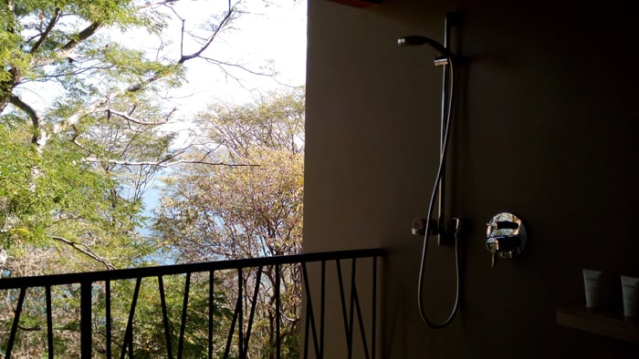 Outdoor shower in one of the treatment rooms at the Andaz spa.