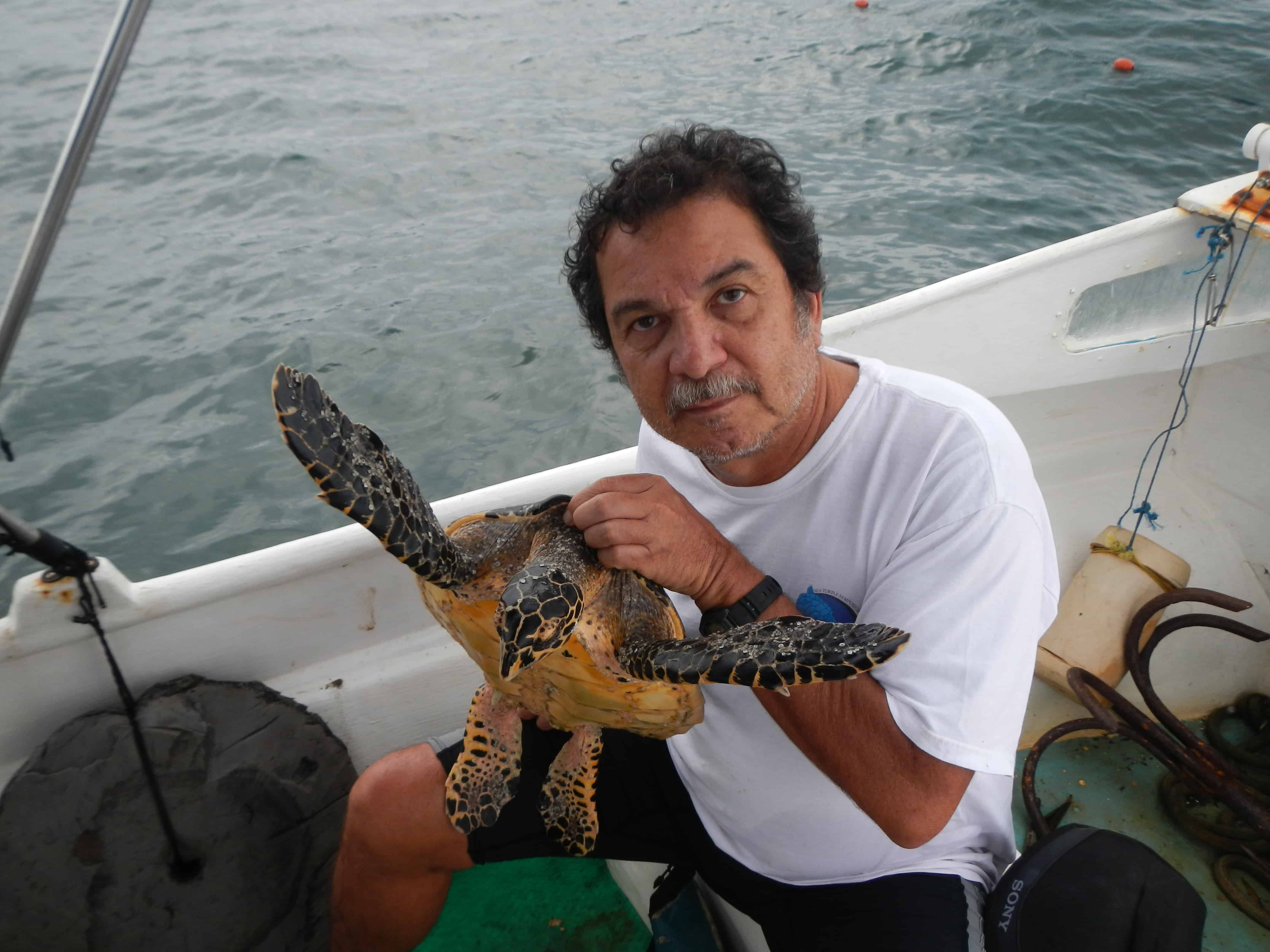 Randall Arauz with hawksbill sea turtle.
