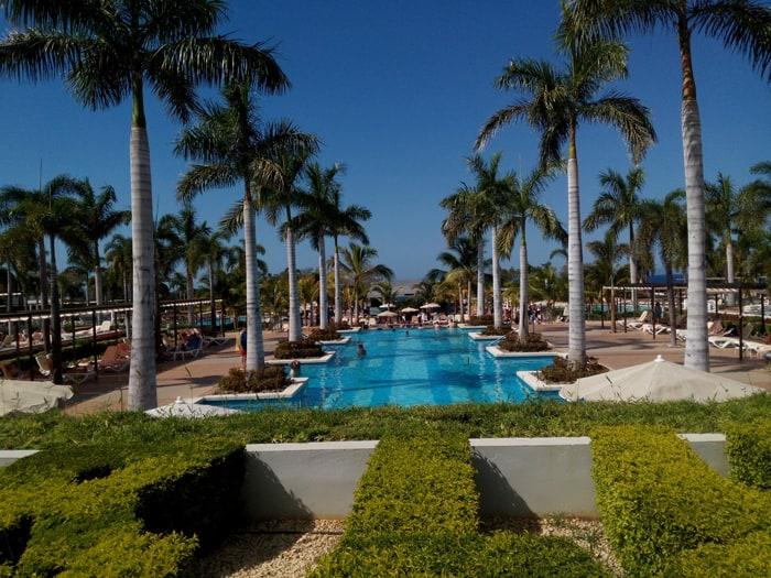 Pools and palms at the RIU Palace.