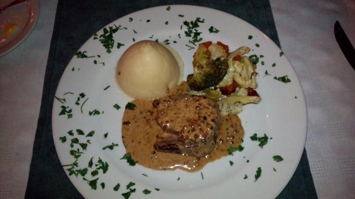 """Filet Mignon Three Peppercorn Sauce"" at Villa del Sueño."