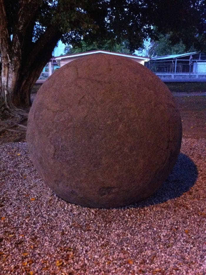 Pre-Columbian stone sphere at town park in Sierpe. Brought by extraterrestrials? Or just made locally by really good stone carvers?