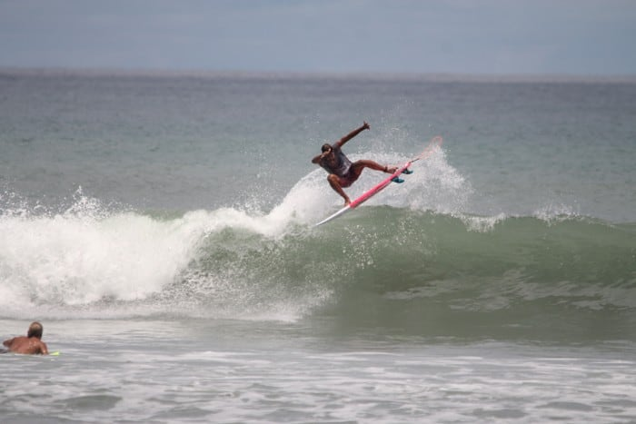 Catching a wave at Pavones.