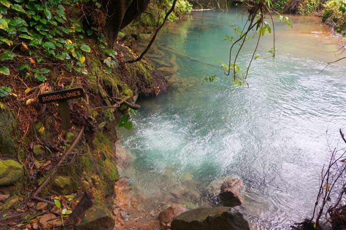 At Borbollones, the river bubbles because of venting volcanic gas.