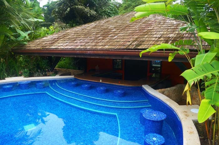 The swim-up bar is the perfect place to unwind after a strenuous hike.