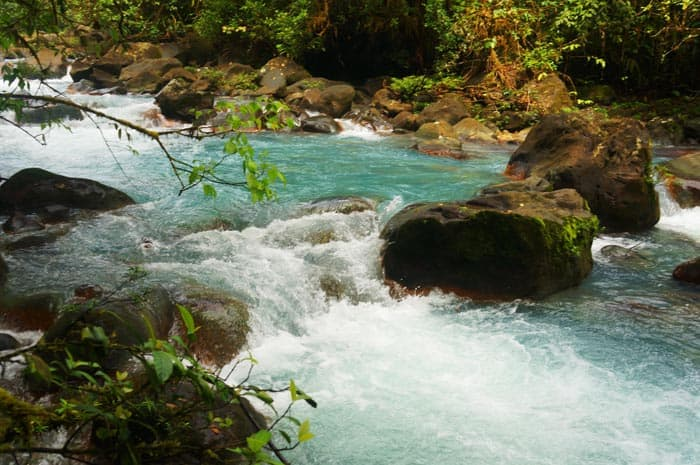 A hike down a private trail leads to views of Río Celeste like this one.