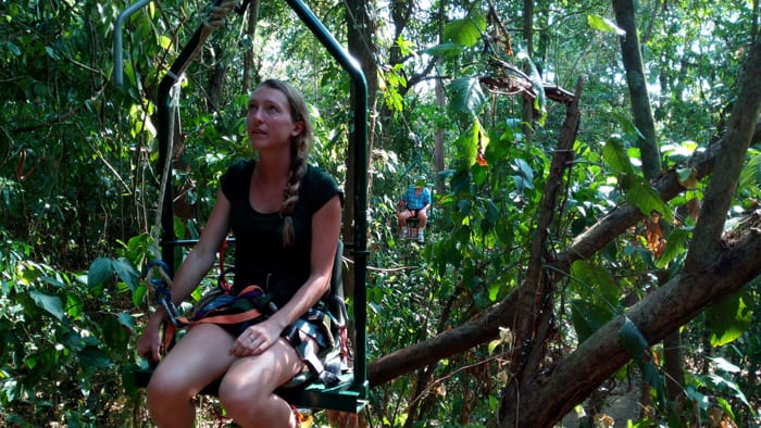 Sam Smith, 28, on the EcoTram at Hacienda Barú, with her father, Jim Smith, 74, bringing up the rear.