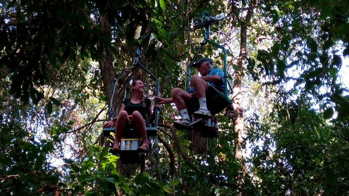 Sam and Jim Smith have a close encounter on the EcoTram.