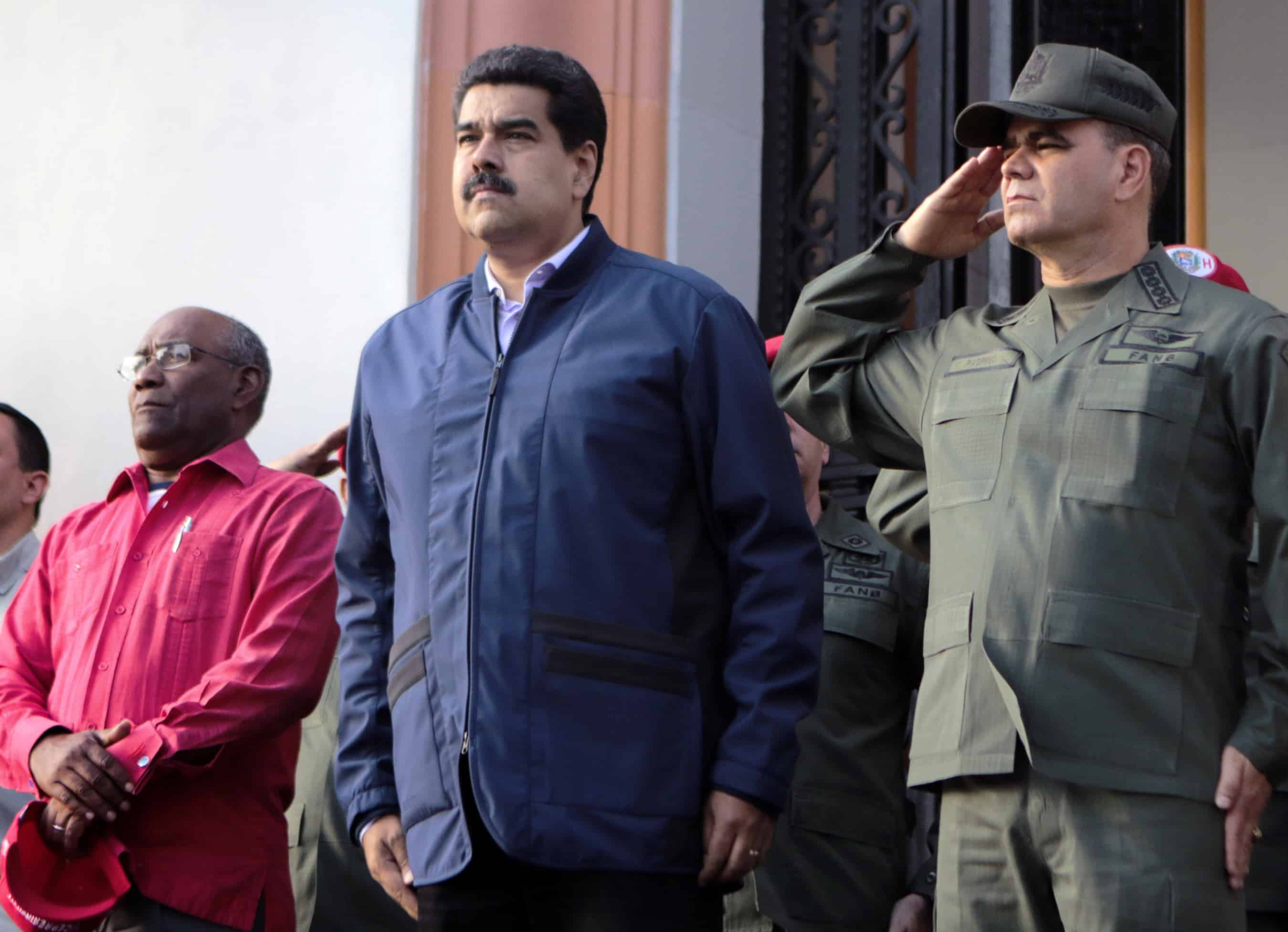President Nicolás Maduro, center, with Vice President Aristóbulo Istúriz, left, and Defense Minister Vladimir Padrino López