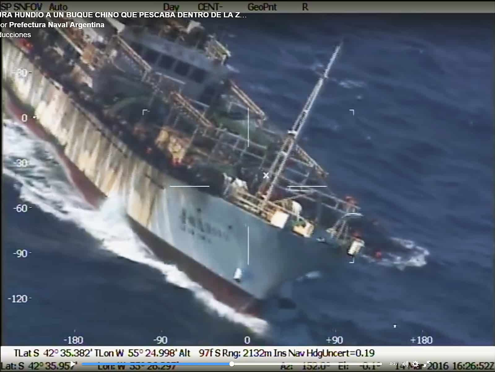 Argentina sinks Chinese fishing boat in South Atlantic