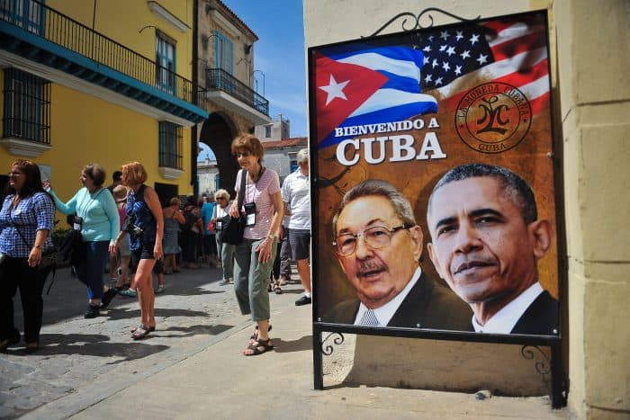 Obama in Cuba | Billboard with Castro and Obama