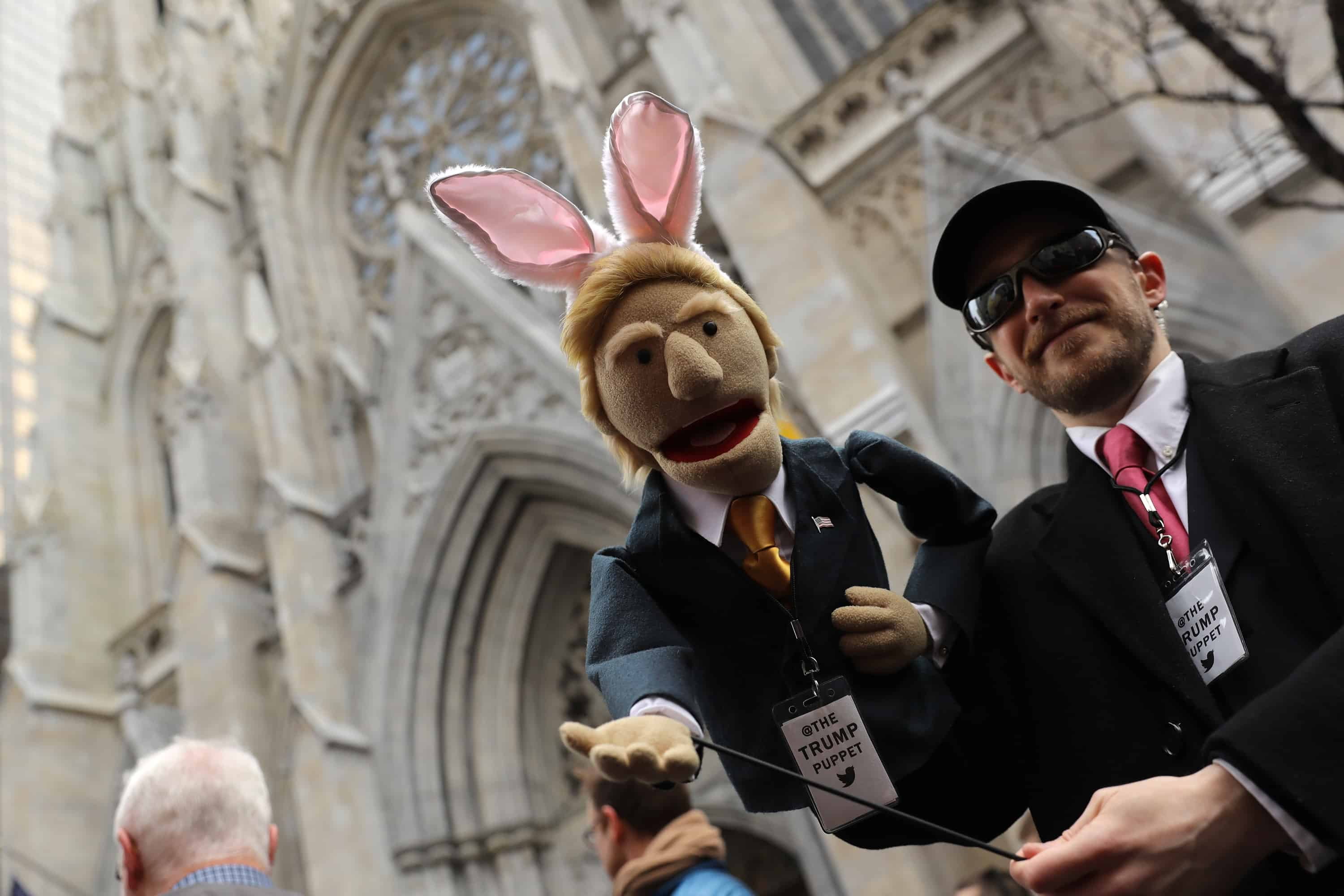 A Donald Trump puppet with bunny ears at the 2016 New York City Easter Parade on March 27, 2016 in New York City.