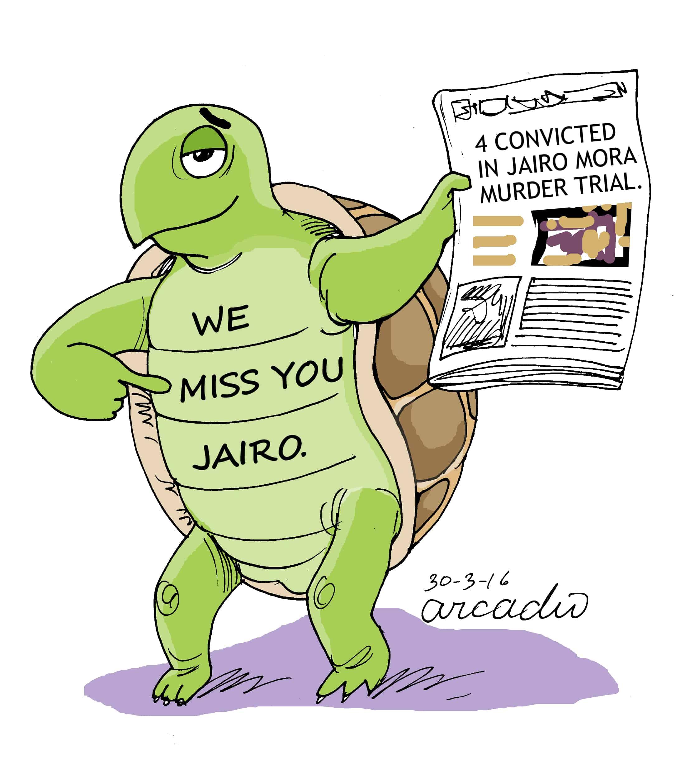Arcadio cartoon on Jairo Mora murder trial