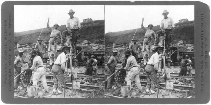 An April 1910 stereographic file photo shows Panama Canal workers using tripod drills during construction of the canal.