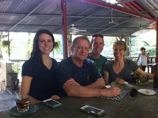 The gang's all here: Mia, Murphy, Karl and Cindy at the Río Lindo in Dominical.