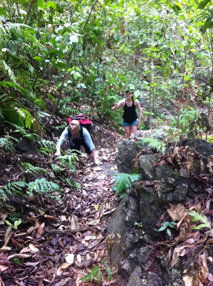 Cindy and daughter Mia negotiating an uphill.