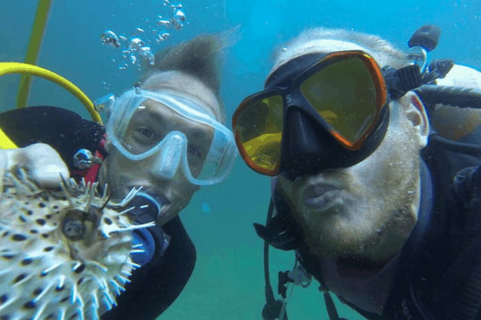 Damon with Mike and pufferfish.