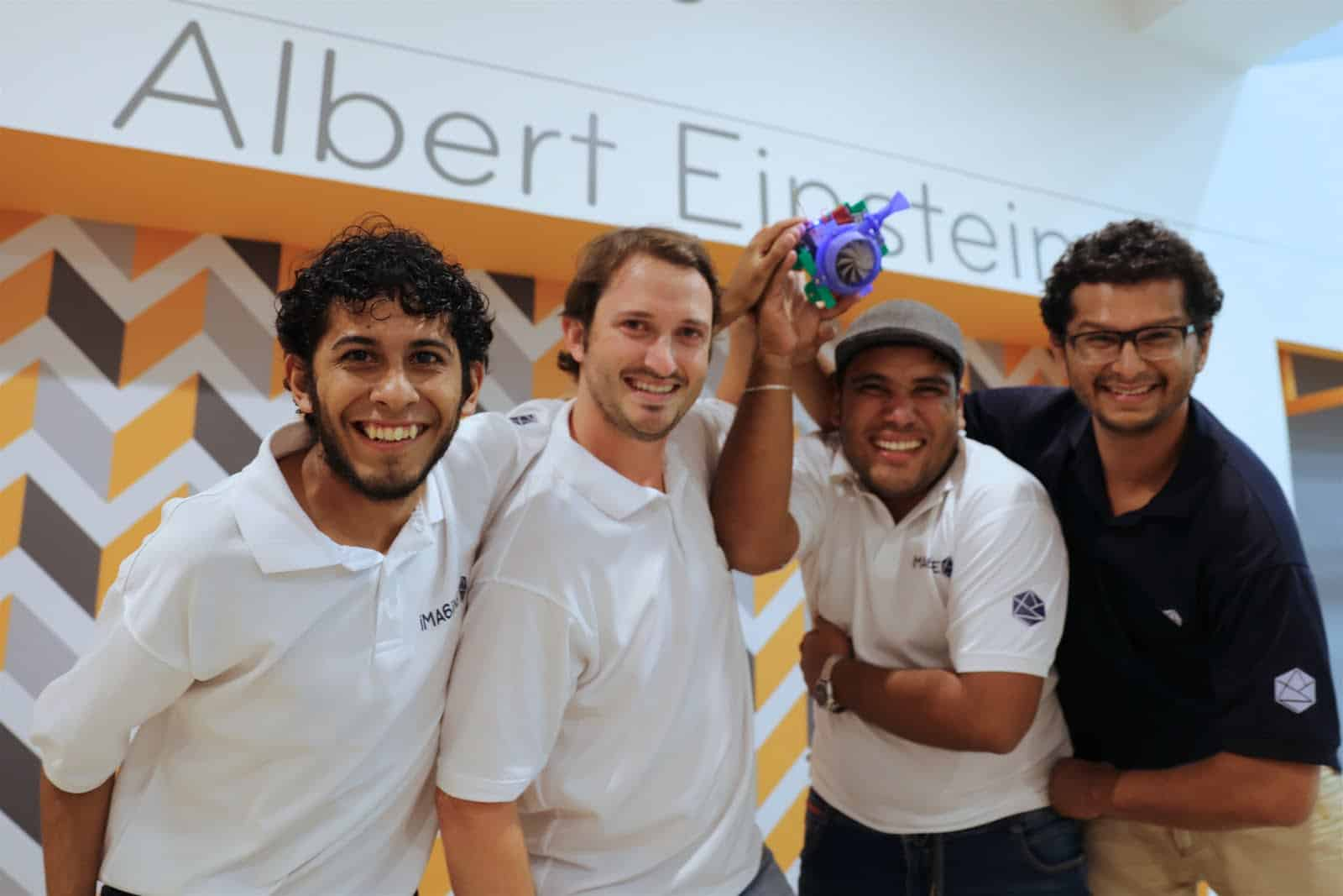 Bryan Navarro, Juan Carlos Martí, Hugo Sánchez and Javier Carvajal, winners of the 2016 Fishackathon