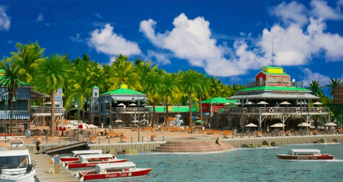 Artist's rendering of Fishermen's Village, a public waterfront area with shops and restaurants.