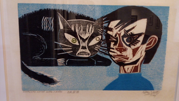 """Conflict Between Cat and Boy"" by Francisco Amighetti Ruiz (1907-1998)."