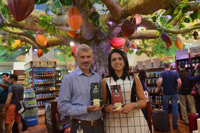 Grupo Britt CEO Pablo Vargas and Adriana Echandi, vice president of Britt Shops, inside their main store in the Costa Rica airport.