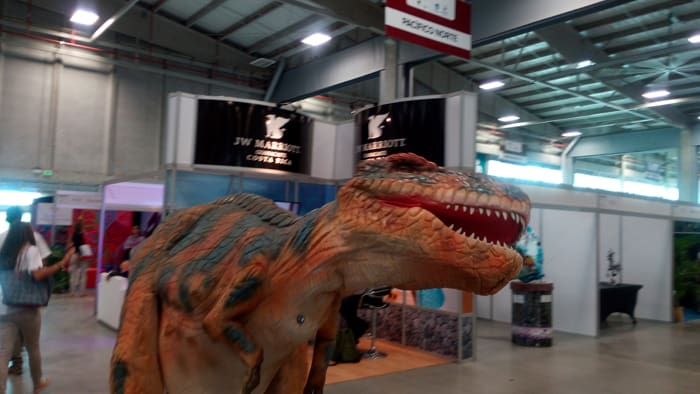 A Tyrannosaurus rex rampages through the corridors of Expotur, Costa Rica's annual travel trade show extravaganza.