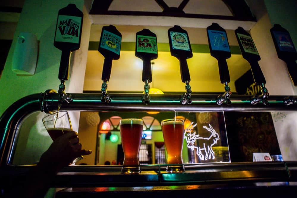 taps of craft beer