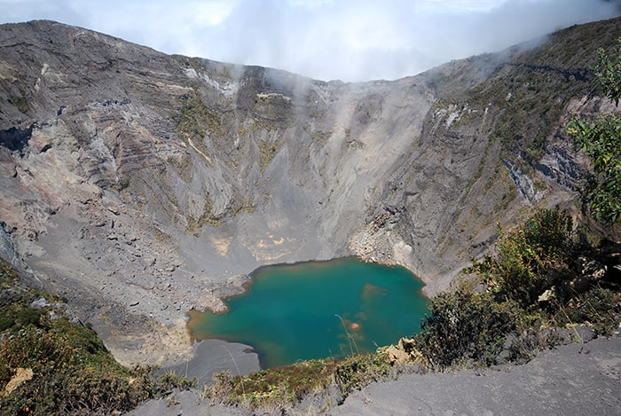 Irazú's main crater in 2012.