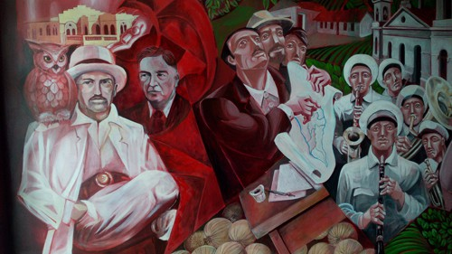 Detail of mural at the Municipal School of Integrated Arts depicting the early 20th century.