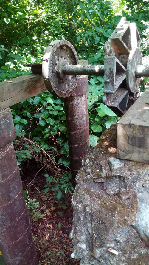 Axis of an old water-powered hydraulic wheel at the Santa Ana Conservation Center's Agricultural History Museum.
