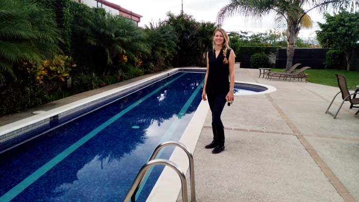 Mariska Van Hulsentop of Expat Housing Costa Rica at the Las Pampas housing development in Piedades.