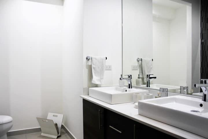 Bathroom at condo for rent at Nova Lofts.