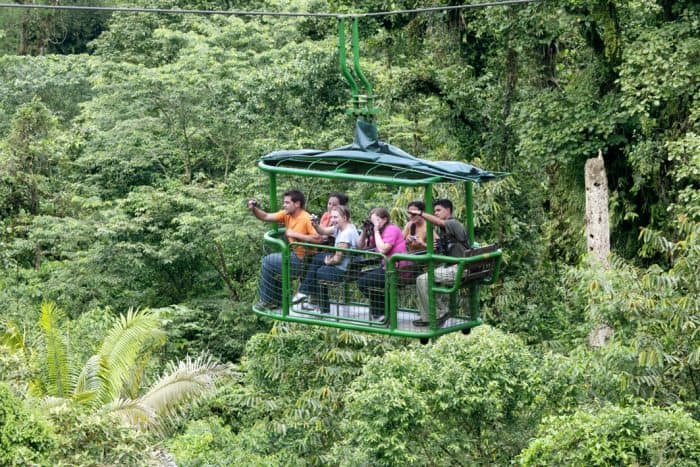 The aerial tram at Rainforest Adventures glides over the dense rain forest near Braulio Carrillo National Park.