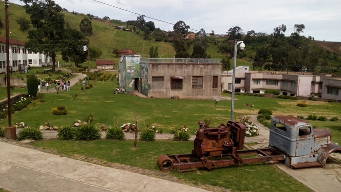 The grounds of Sanatorio Durán, with what's left of an old truck.