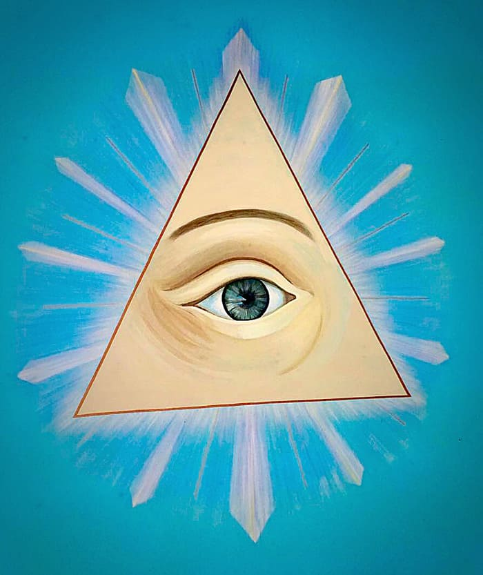 All-seeing eye painted on the ceiling of the Masonic Temple.