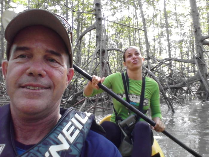 A kayaking selfie on Río Cañitas, with nature guide Mile.