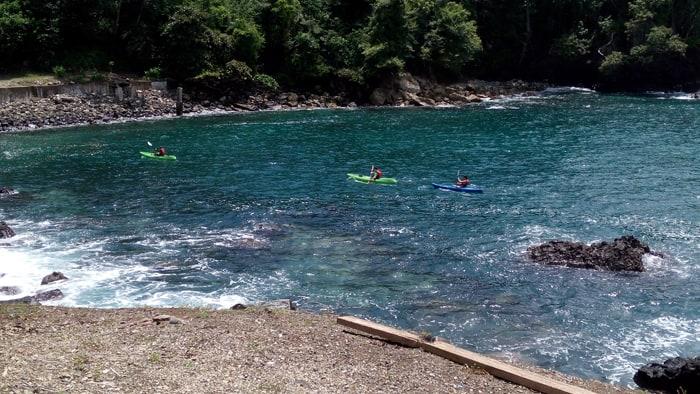 Kayakers at Nahomi, a beautiful bay, park and beach near the marina.