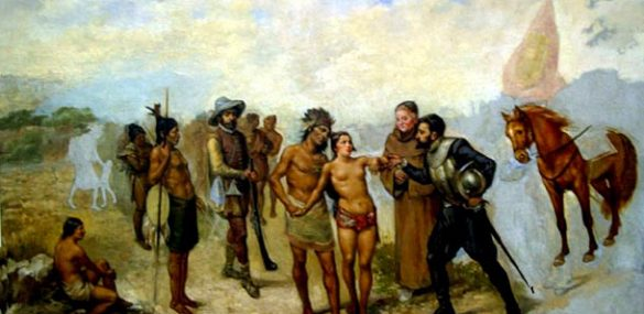 """Rescue of Dulcehé,"" an unfinished painting by the Spaniard Tomá‡s Povedano, in which the princess is returned to her brother Corrohore by Juan Vá‡zquez de Coronado in 1563."