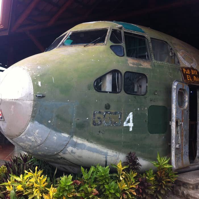 A 1955 Fairchild C-123 cargo plane once used by the U.S. to ship arms to the Nicaraguan contras is now the centerpiece of El Avión Restaurant.