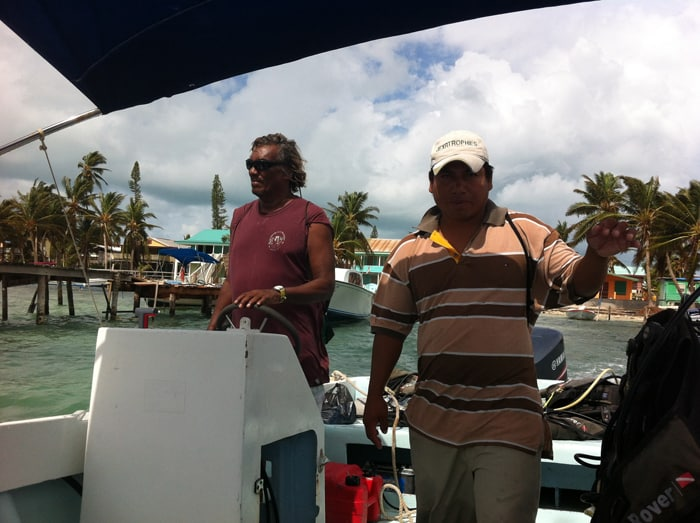 "Divemaster Ricardo, right, and boat captain Matapalo (""Tree Killer,"" a nickname from his days as a logger)."