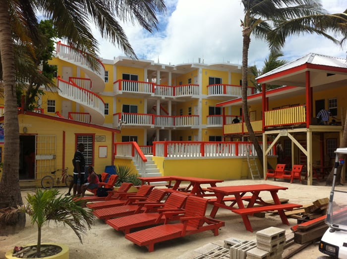 Yellow and orange are popular colors in Caye Caulker.