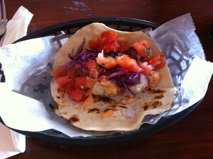 Hot or not? Hot. Fish taco with Sriracha lime mayo.