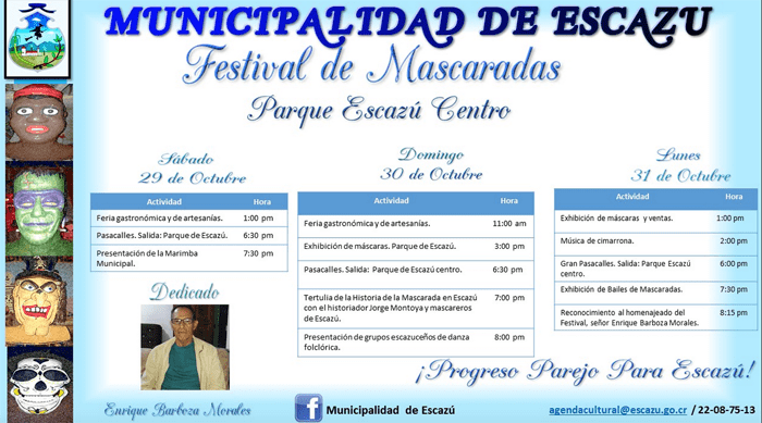 The program for Halloween festivities in Escazú.