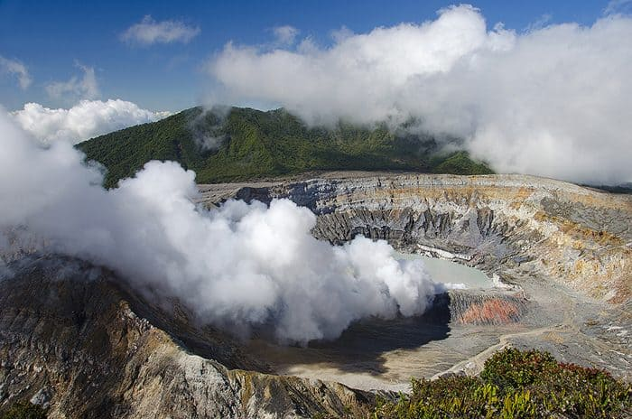Poás is an active 2,708m (8,885-ft.) volcano. The crater, at 1.7km wide, is one of the widest in the world.
