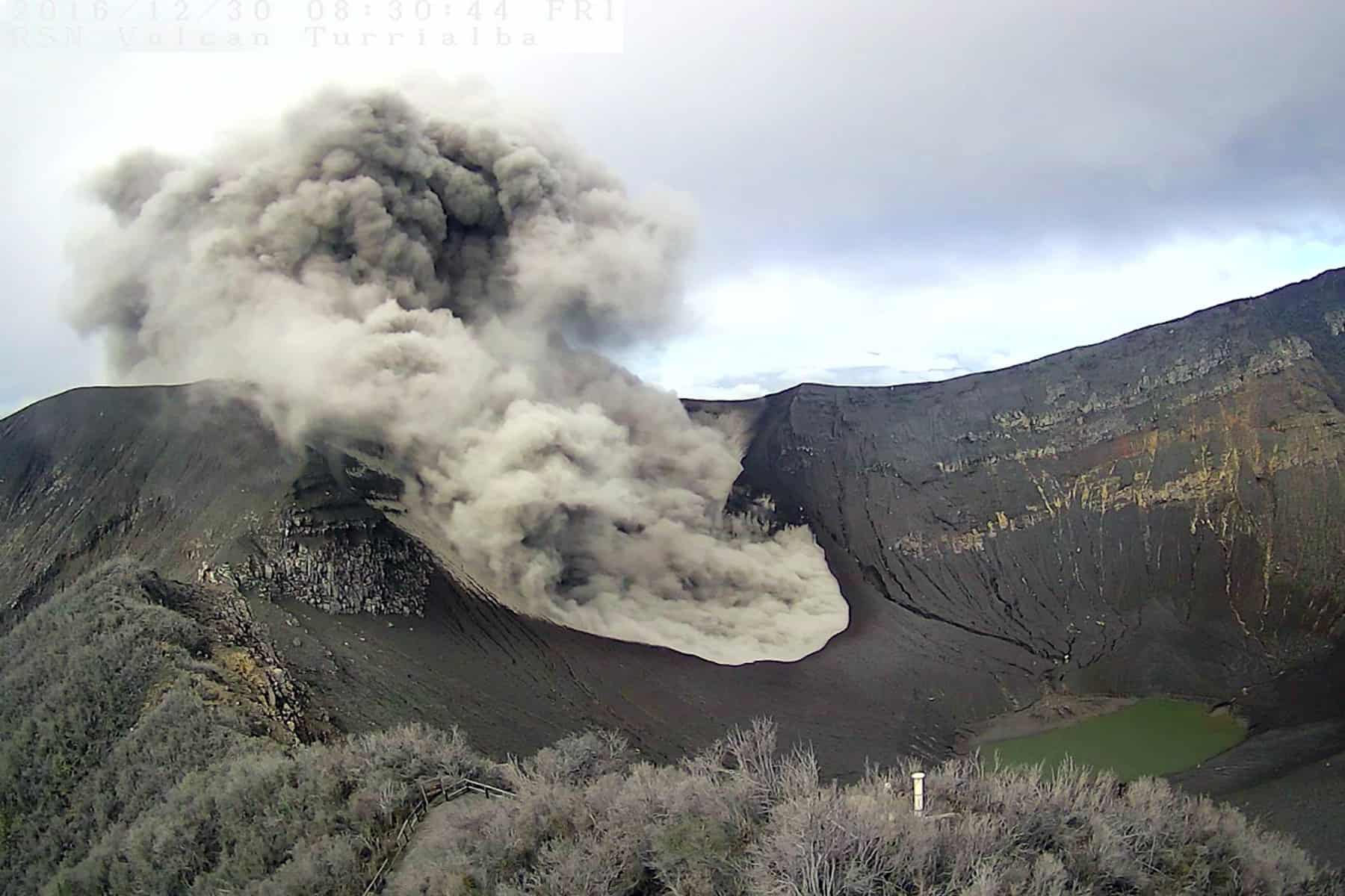 An ash explosion at Turrialba Volcano, Dec. 20, 2016.