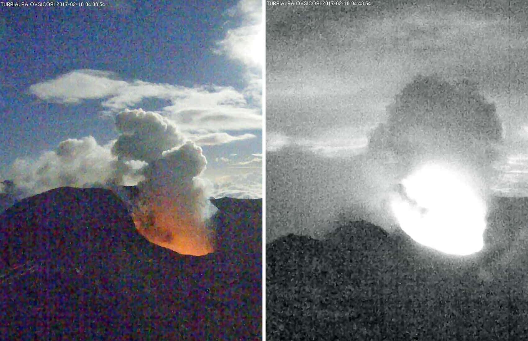 Incandescence (possible magma) at Turrialba Volcano. Feb. 10, 2017.